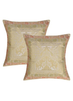 Lal Haveli Elephant Design Silk cushion Covers for Sofa/Chair/Car 16 x 16 inch Set of 2 Pcs