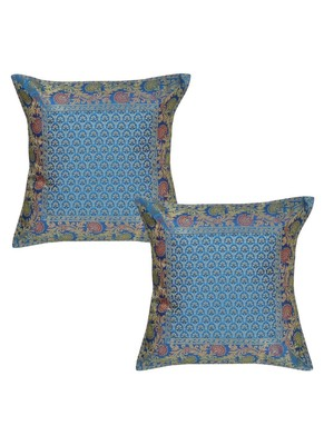 Lal Haveli Turquoise Color Sofa Decorations Handmade Silk cushion Covers 16 x 16 inch Set of 2 Pcs