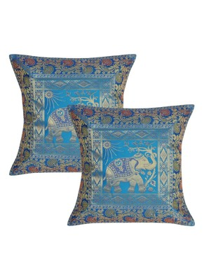 Lal Haveli Turquoise Color Sofa Decorations Silk cushion Covers 16 x 16 inch Set of 2 Pcs