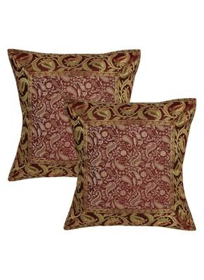 Lal Haveli Jaipuri Handmade Paisley Design Square Silk Pillow cushion Covers 16 x 16 inch Set of 2 Pcs