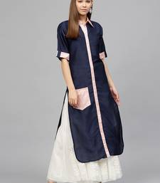 Blue printed polyester kurti