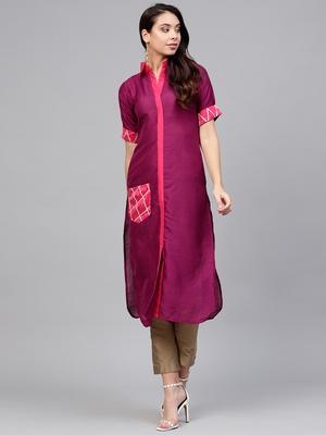 Purple plain polyester kurti