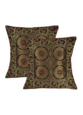 Lal Haveli Black Color Designer Silk cushion Covers 16 x 16 Inch Set of 2 Pcs