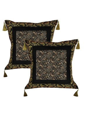 Lal Haveli Silk Throw Pillow cushion Covers 18 x 18 Inch Set of 2 Pcs