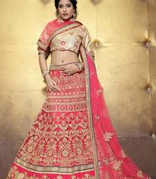 Pink Embroidered Net unstitched ghagra-choli