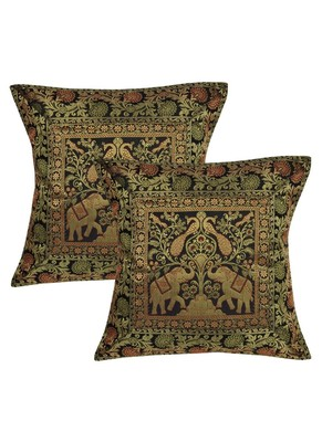 Lal Haveli Peacock & Elephant Design Square Shape Silk cushion Covers Home Party Sofa Decor 16 x 16 inch Set of 2 Pcs