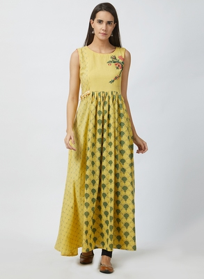 Light-yellow printed cotton kurtis