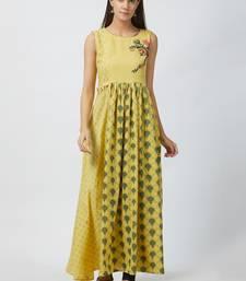 Light-yellow printed cotton kurtis
