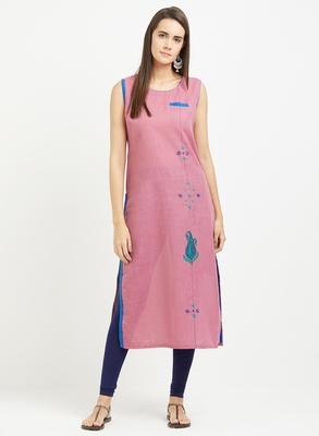 Pink plain linen kurtis