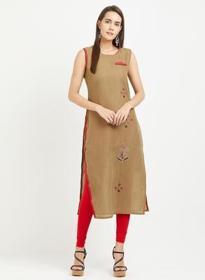 Brown plain linen kurtis