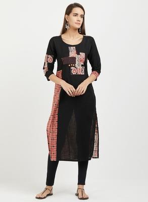 Black printed cotton kurtis