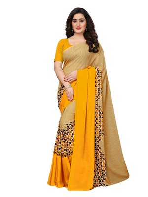 Beige printed georgette saree with blouse