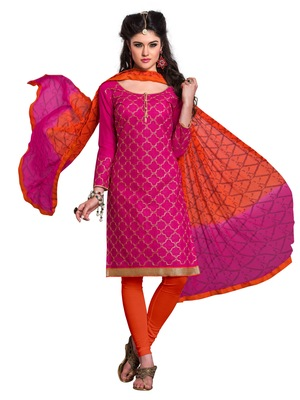 Women Rani embroidered Pure Chanderi salwar Suit with dupatta Dress material