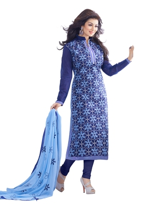 DnVeens Womens Navy Blue embroidered Pure Chanderi salwar Suit with Embroidered dupatta Dress material
