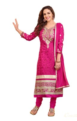 Pink embroidered cotton Salwar Kameez Unstitched Dress Material