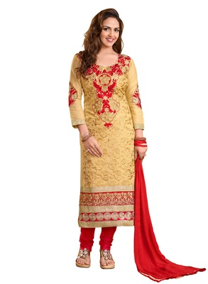 Chiku embroidered cotton salwar Suit with dupatta Dress Material