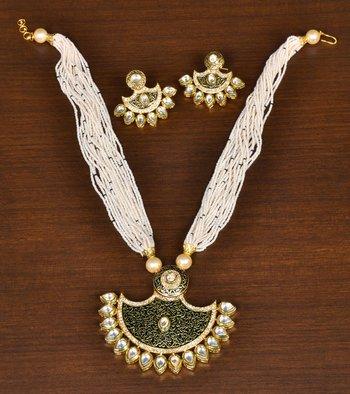 Black Meenakari Worked and Kundan Embellished Pearl Strings Necklace for Women