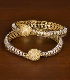 CZ Stone Embellished Brass Made Pair of Wedding Designer Bangles for Women