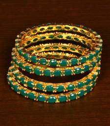 Buy Gold Plated Green Stone Embellished Designer Wedding Bangles for Women bangles-and-bracelet online