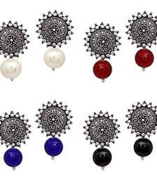 Multicolor pearl combo-earrings