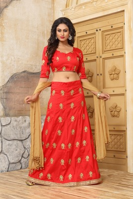 6ae237ee34 orange embroidered chanderi lehenga with dupatta - Divine ...