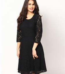 Buy black plain net stitched kurti party-wear-kurtis online