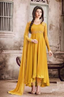 45418d70f02 Yellow Embroidered Faux Georgette Semi Stitched Salwar With Dupatta