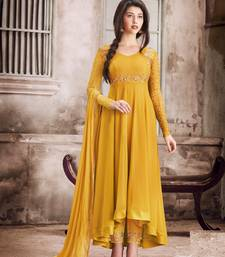 Yellow Embroidered Faux Georgette Semi Stitched Salwar With Dupatta