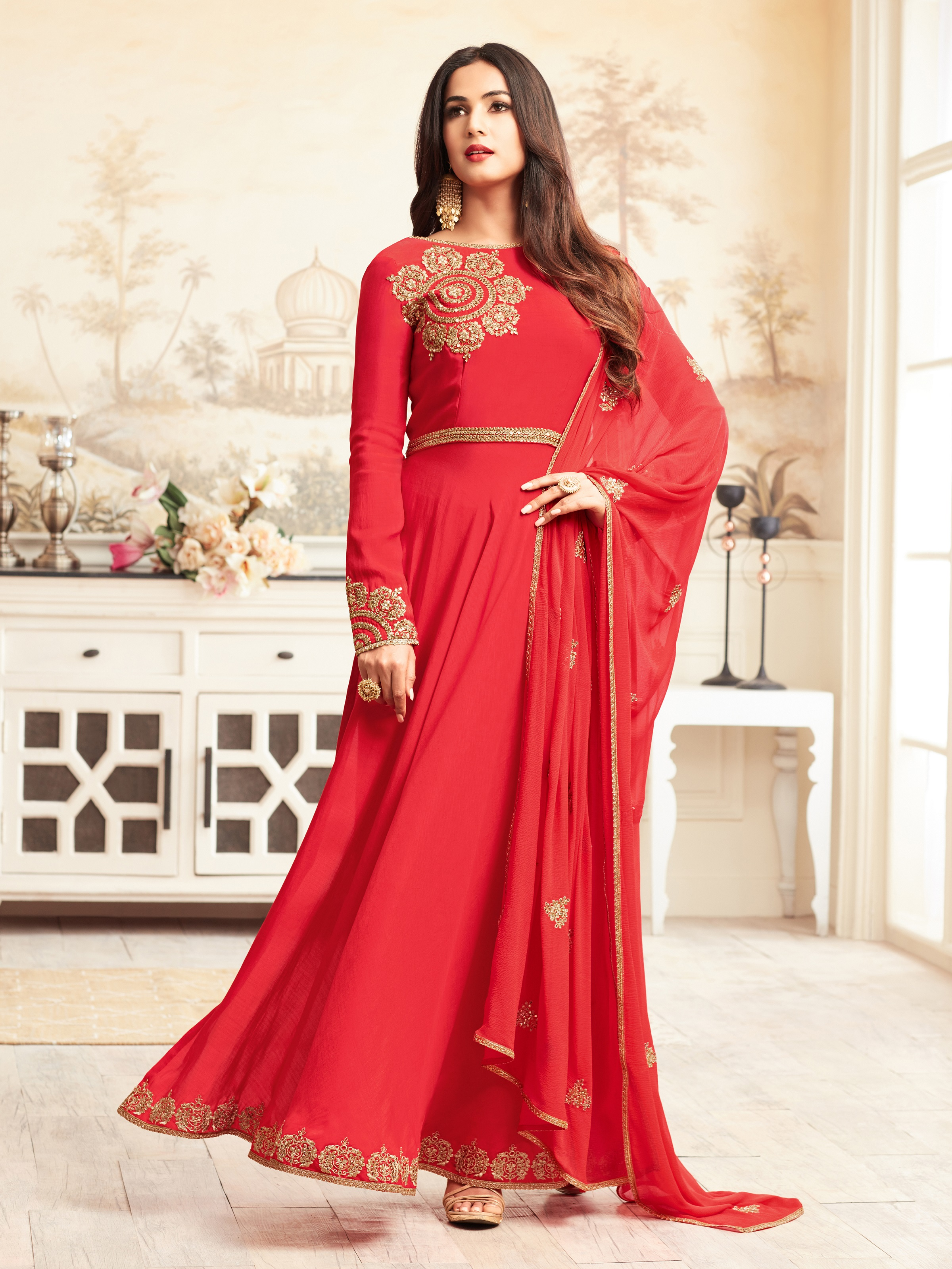 5c53b71265 Red Embroidered Faux Georgette Semi Stitched Anarkali Suit - Divine  International Trading Co - 2736959