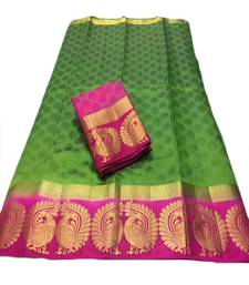 Buy Olive green woven tussar silk saree with blouse tussar-silk-saree online