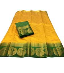 Buy Yellow woven tussar silk saree with blouse women-ethnic-wear online