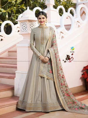 Grey Embroidered Silk Blend Semi Stitched Anarkali Suit