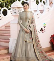Grey Embroidered Silk Blend Semi Stitched Anarkali Suit semi-stitched-salwar-suit