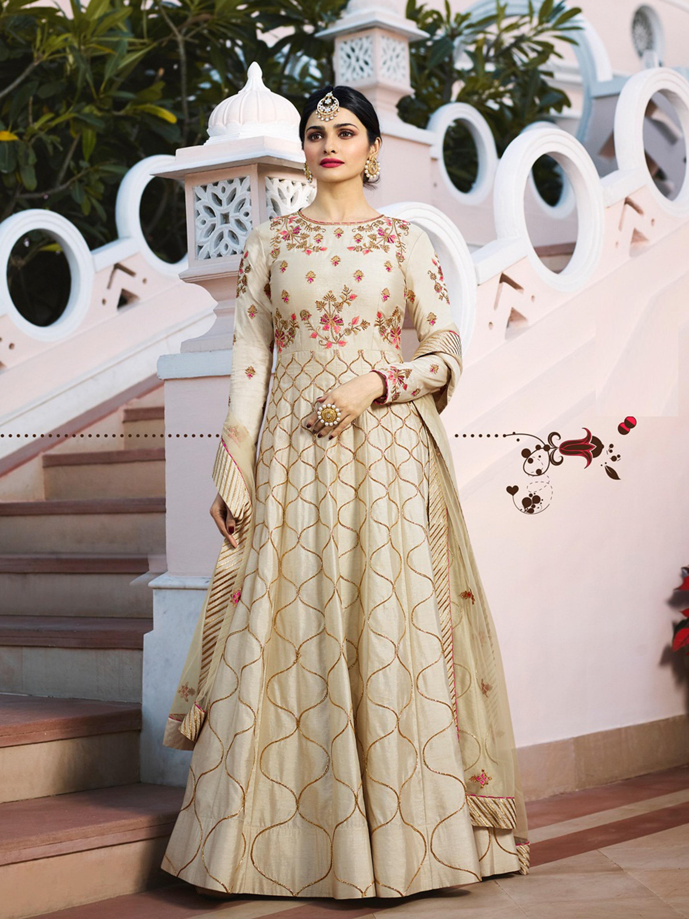 a99b762f7b Beige Embroidered Chanderi Silk Anarkali Suit - Divine International  Trading Co - 2736994