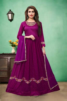 Purple Embroidered Faux Georgette Semi Stitched Anarkali Suit