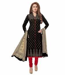Black screen print cotton salwar with dupatta