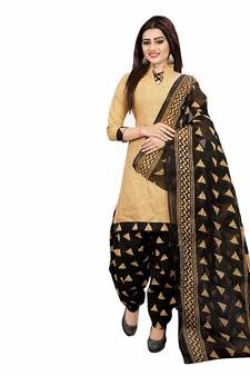 7f7457131c2 Beige screen print cotton salwar with dupatta