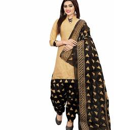 Beige screen print cotton salwar with dupatta