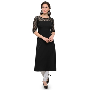 black plain net stitched kurti