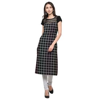 black plain net stitched kurti