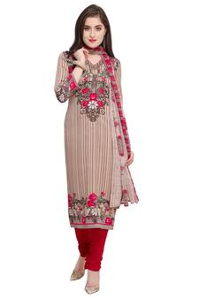 Good Reputation Over The World Ladies 3 Piece Embroided Unstitched Salwar Kameez One Size New