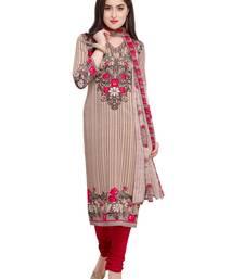 Beige Fancy Cotton Unstitched kameez With Dupatta