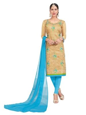 Beige Thread Embroidery Chanderi Unstitched Salwar With Dupatta