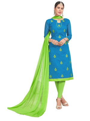 Blue Thread Embroidery Chanderi Unstitched Salwar With Dupatta