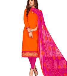 Buy Orange Thread Embroidery Khadi Unstitched Salwar With Dupatta dress-material online