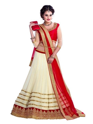 Off-White Embroidered Georgette Lehenga With Dupatta