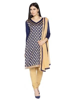 Blue Fancy Chanderi Silk Semi Stitched Salwar With Dupatta