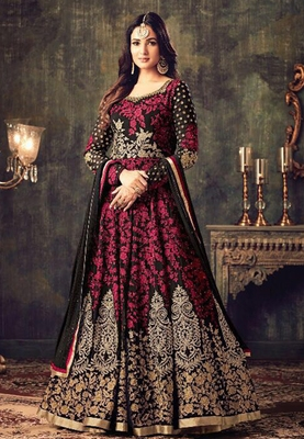 Red and black embroidered georgette Anarkali Suit