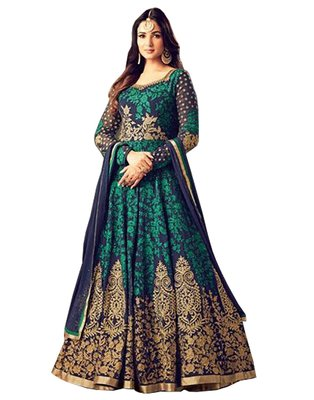 Green and black  embroidered georgette Anarkali Suit