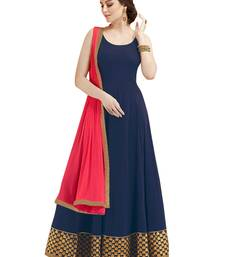 Blue Embroidered Georgette Semi Stitched Anarkali Suit
